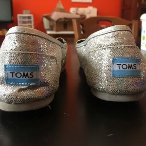 Toms Classic Silver Sparkle Shoes